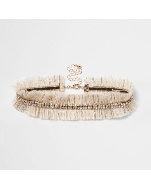 River Island | Cream Metallic Frayed Diamante Choker Cream Metallic Frayed Diamante Choker | Lyst