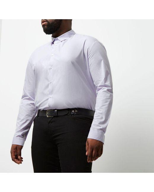 River island big and tall purple slim fit smart shirt in for Big and tall purple dress shirts
