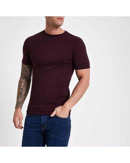 0a652f18 River Island Dark Red Muscle Fit Crew Neck T-shirt in Red for Men - Lyst