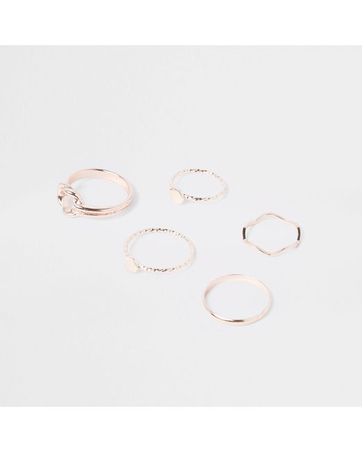 River Island - Metallic Rose Gold Tone Knot And Circle Top Ring Pack - Lyst