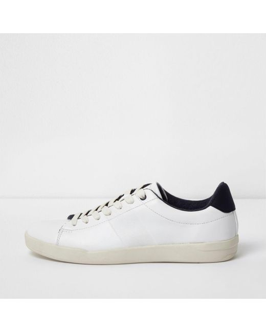 River Island | White Perforated Lace-up Trainers White Perforated Lace-up Trainers | Lyst