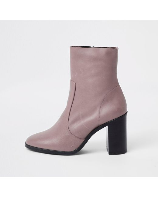 River Island - Natural Leather Sock Heel Ankle Boots - Lyst