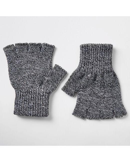 Lyst - River Island Knit Fingerless Gloves in Gray for Men