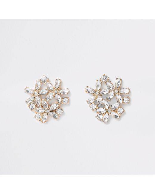 River Island - Metallic Tone Jewel Cluster Clip On Earrings - Lyst