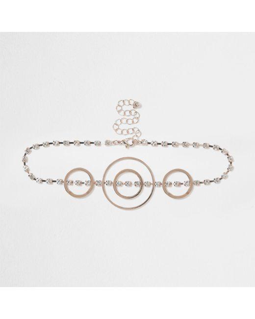 River Island | Pink Rose Gold Tone Circle Diamante Choker Rose Gold Tone Circle Diamante Choker | Lyst