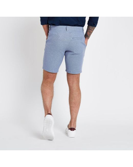 Mens Blue tailored pique slim fit shorts River Island Free Shipping Explore Buy Cheap Best Seller 4rlZ6p