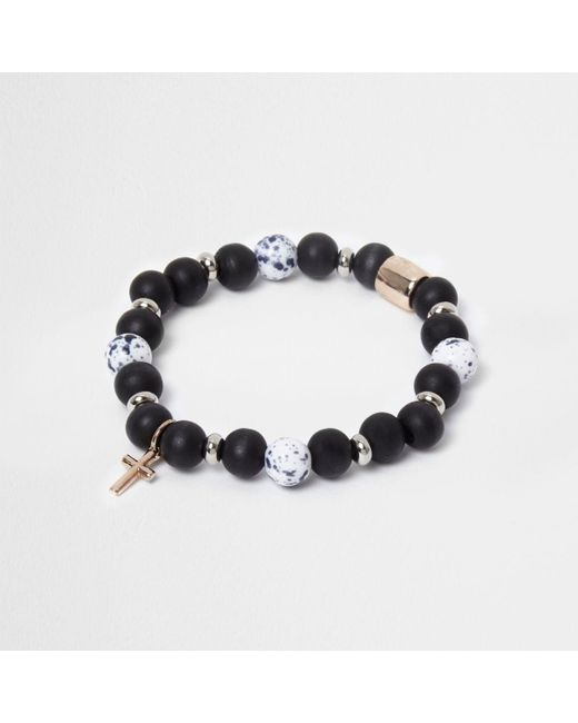 River Island | Blue Bead Cross Bracelet for Men | Lyst