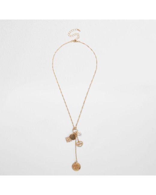 River Island | Metallic Gold Tone Charm Dangle Twist Chain Necklace Gold Tone Charm Dangle Twist Chain Necklace | Lyst