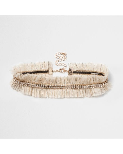 River Island - Cream Metallic Frayed Diamante Choker - Lyst