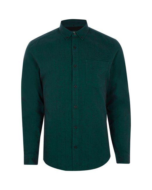 Lyst river island teal slim fit long sleeve oxford shirt for Men oxford slim fit long sleeve shirt