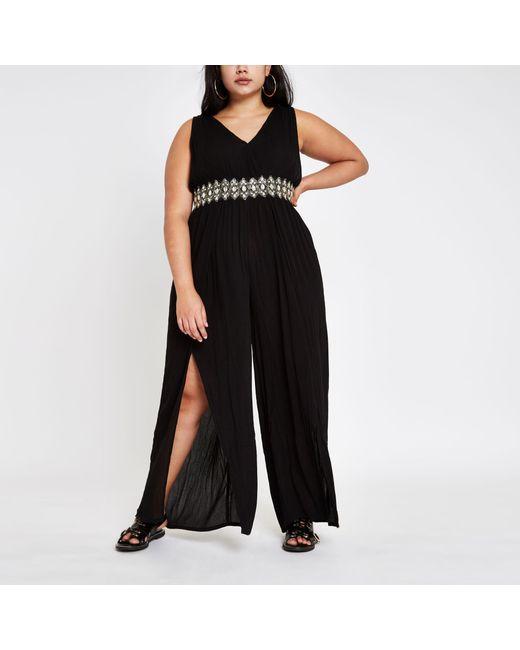 exclusive deals hottest sale most fashionable Women's Plus Black Diamante Trim Beach Jumpsuit