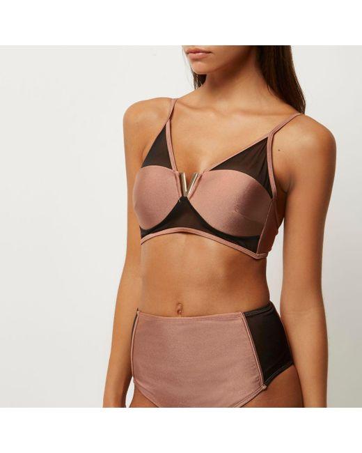River Island | Brown Mesh Bikini Top | Lyst
