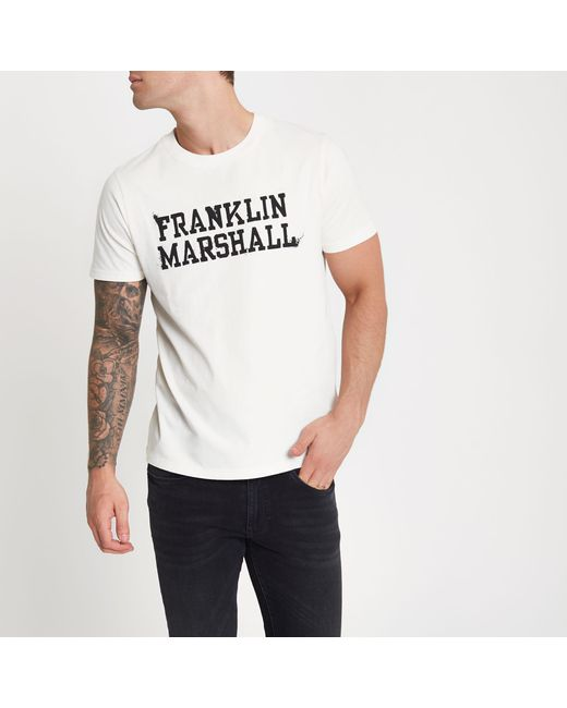 River Island - White Franklin And Marshall Print T-shirt for Men - Lyst