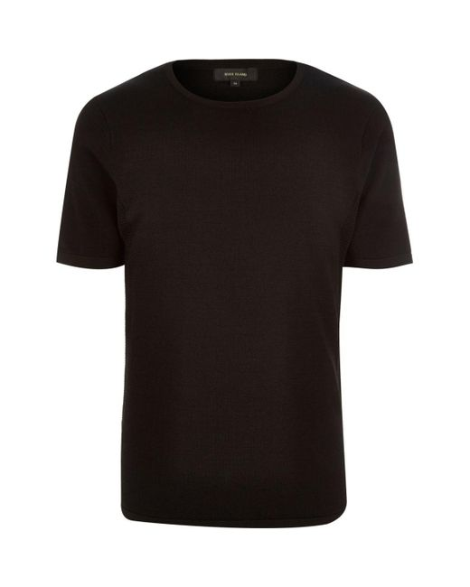River Island | Black Mesh Detail Short Sleeve Jumper for Men | Lyst