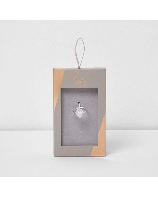 River Island - Metallic Silver Tone Luli Teardrop Jewel Ring - Lyst