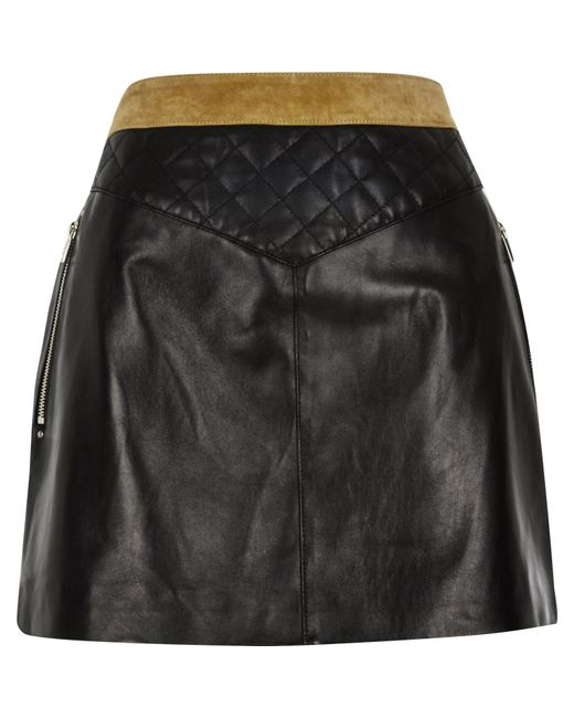 river island black leather and suede quilted skirt in