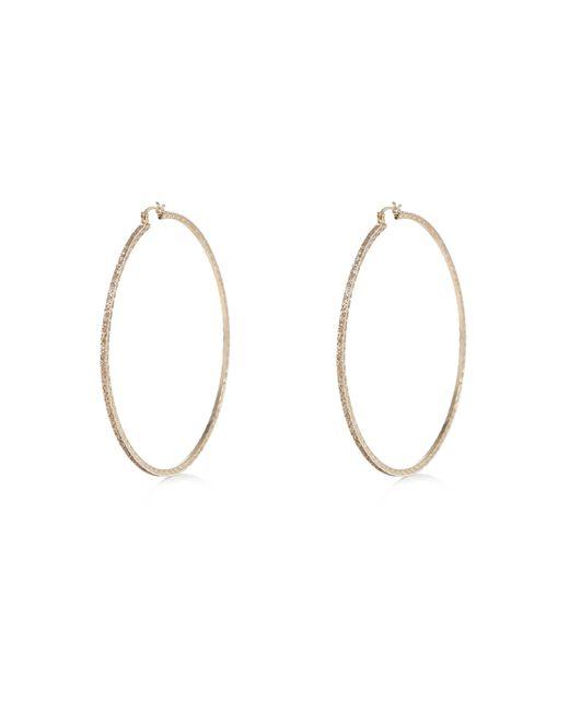 River Island | Metallic Gold Tone Glitter Hoop Earrings | Lyst