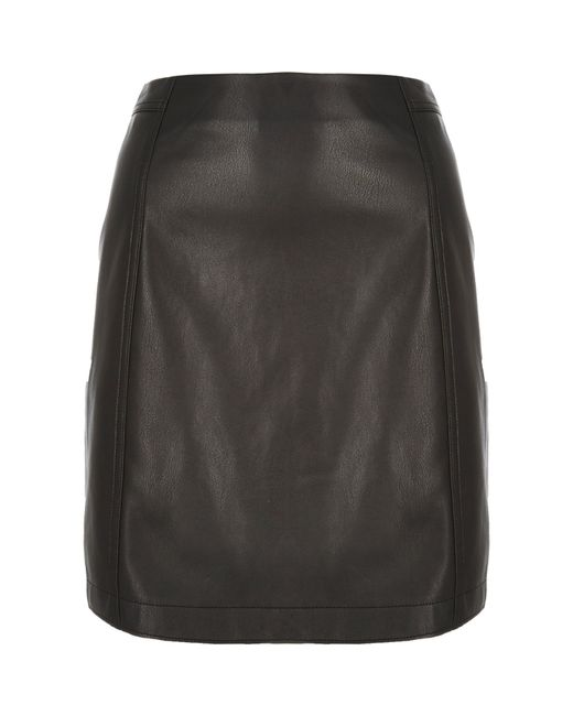 river island black leather look a line midi skirt in black