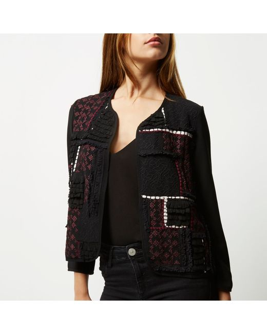 River island black embroidered trophy jacket in lyst