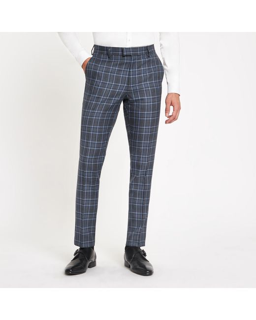 6577dd0187d River Island Bright Blue Check Skinny Suit Trousers in Blue for Men ...