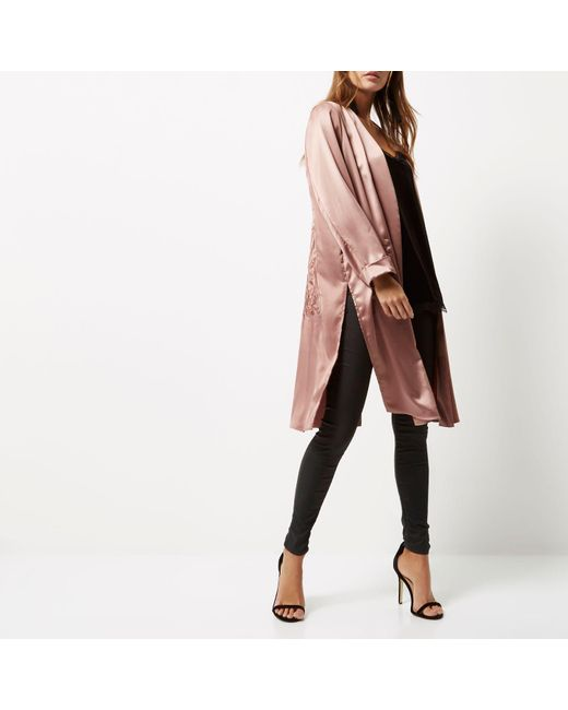 River Island Pink Embroidered Duster Coat In Pink Lyst
