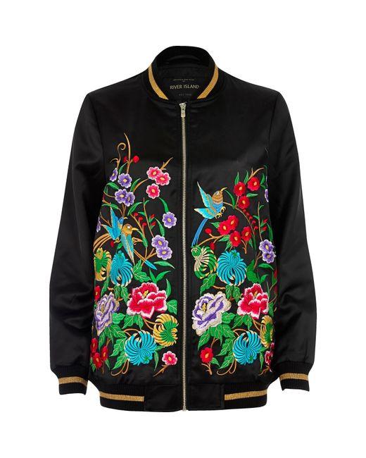 River island black floral embroidered bomber jacket in