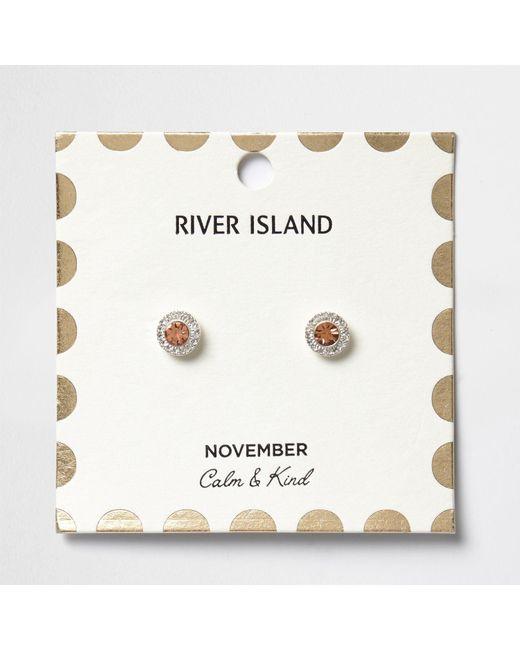 River Island   Orange November Birthstone Stud Earrings   Lyst