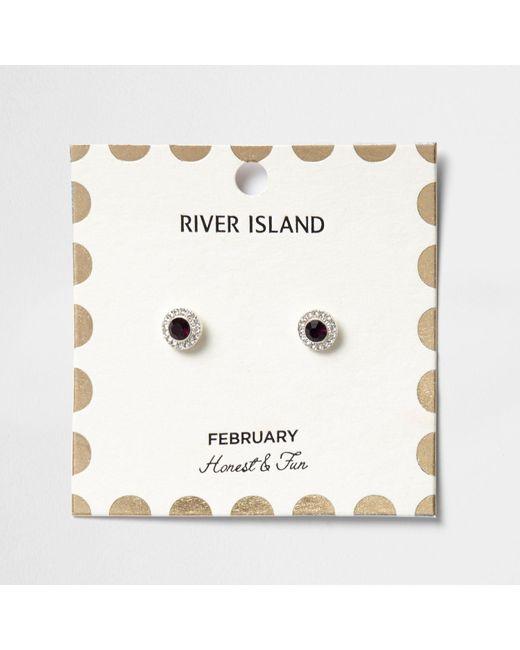 River Island | Purple February Birthstone Stud Earrings | Lyst