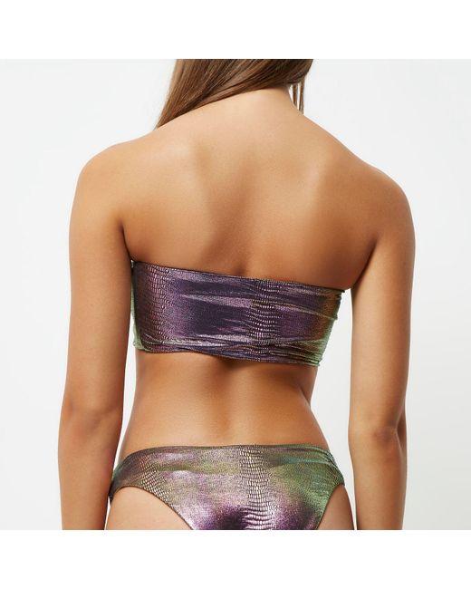 River island Green Metallic Mermaid Bandeau Bikini Top in ...