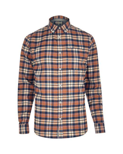 River Island | Orange Check Flannel Shirt for Men | Lyst