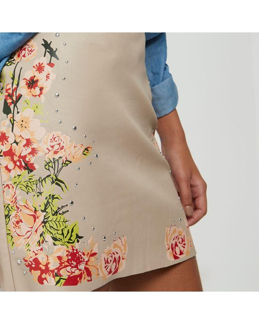 river island blush pink faux leather floral mini skirt in