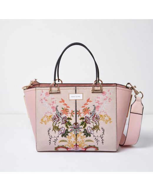 River Island Pink Floral Embroidered Tote Bag In Pink | Lyst