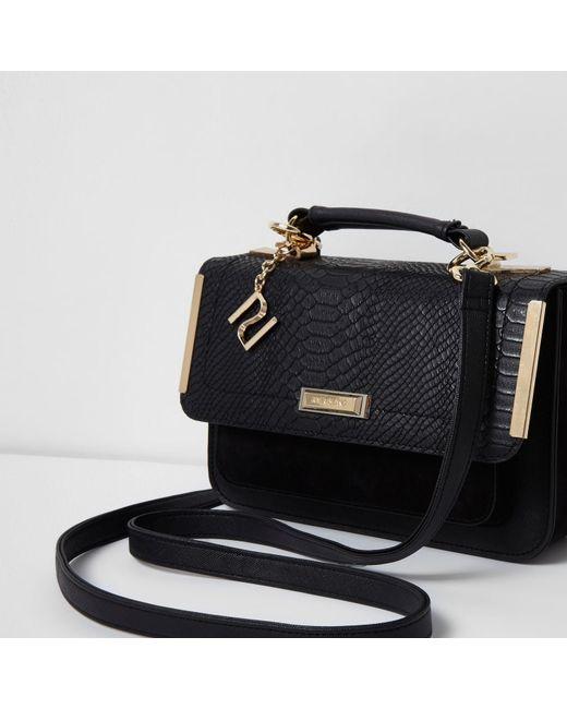 River island Black Embossed Mini Satchel Bag in Black | Lyst