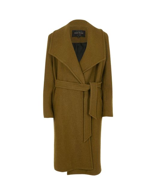 River Island Khaki Robe Coat