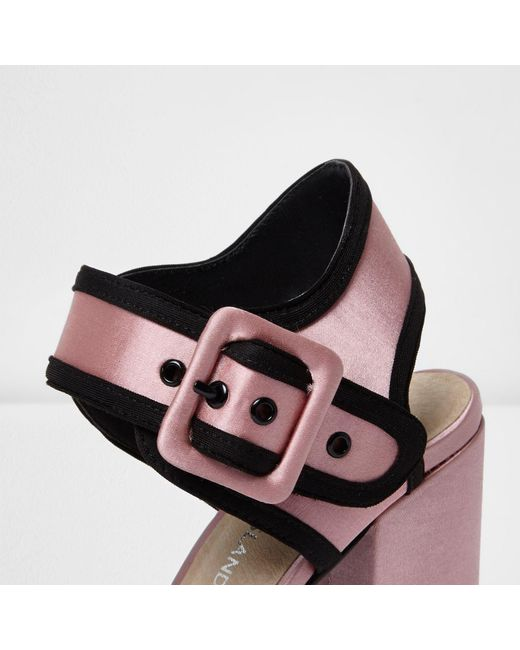 river island pink satin block heel sandals in pink lyst