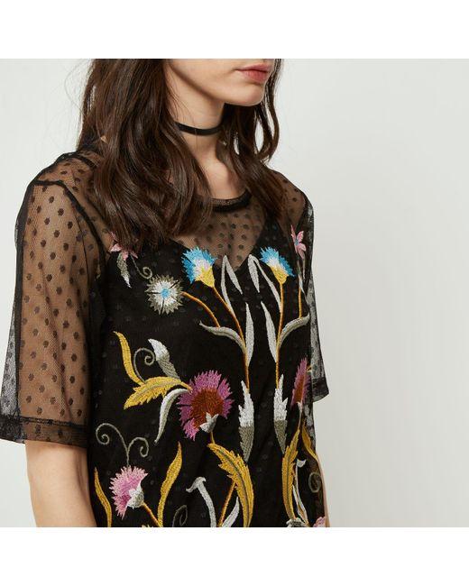 River island black embroidered mesh t shirt dress in black for Embroidered mesh t shirt