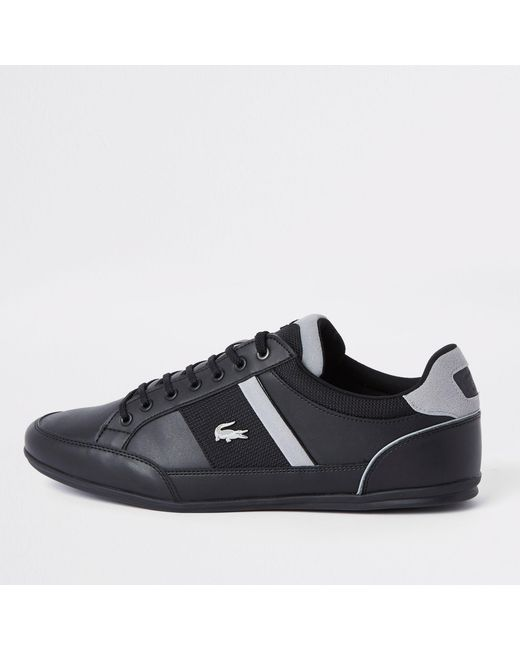 c4fbce92b River Island Lacoste Black Leather Lace-up Trainers in Black for Men ...