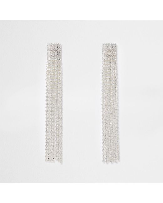 River Island | Metallic Silver Tone Multi Strand Dangle Earrings | Lyst