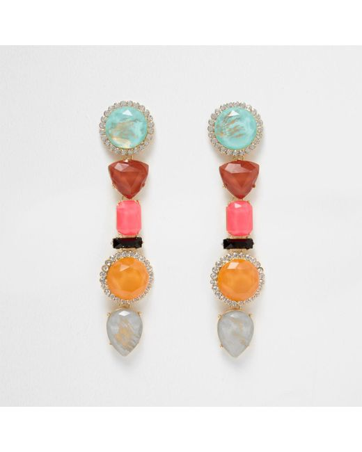 River Island   Pink Multi Colour Mixed Jewel Dangle Earrings Pink Multi Colour Mixed Jewel Dangle Earrings   Lyst