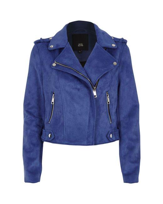 River Island | Blue Faux Suede Biker Jacket | Lyst