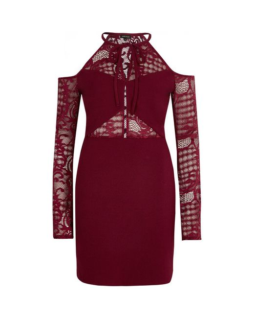 River Island | Dark Red Cold Shoulder Lace Panel Dress | Lyst