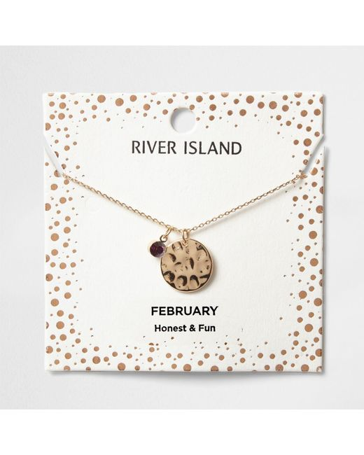 River Island | Purple Gem February Birthstone Necklace | Lyst