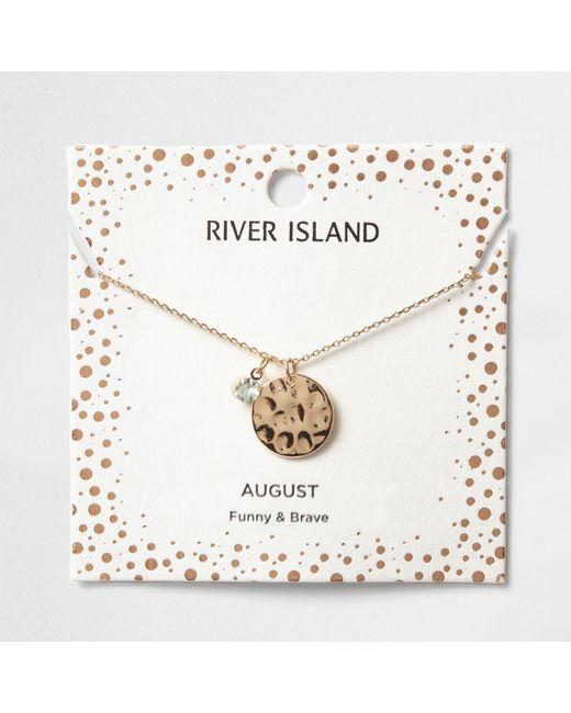 River Island   Light Green Gem August Birthstone Necklace   Lyst