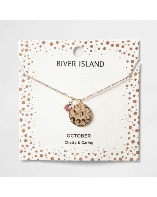 River Island | Pink Gem October Birthstone Necklace | Lyst