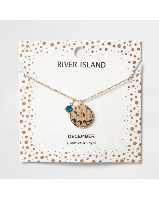 River Island | Blue Gem December Birthstone Necklace | Lyst