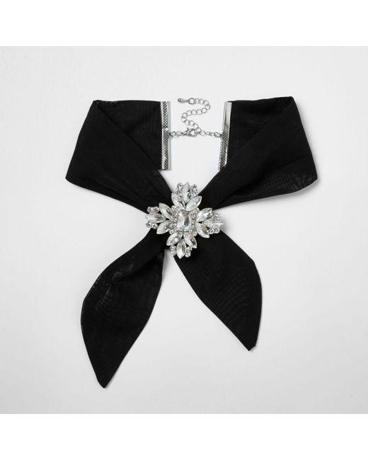 River Island   Black Jewel Embellished Tie Choker   Lyst
