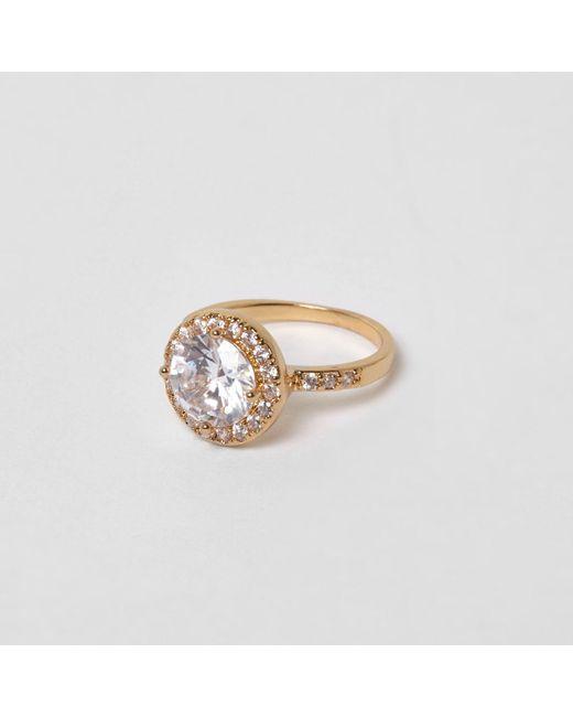 River Island | Metallic Gold Tone Rhinestone Ring | Lyst