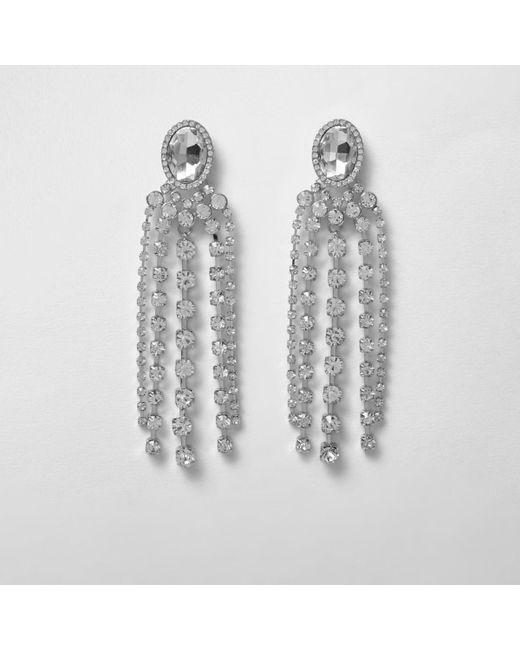 River Island | Multicolor Rhinestone Jewel Dangle Earrings | Lyst