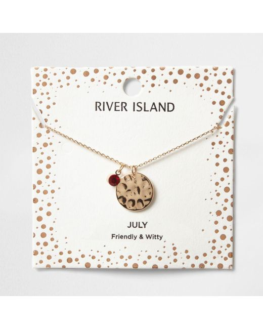 River Island | Red Gem July Birthstone Necklace | Lyst