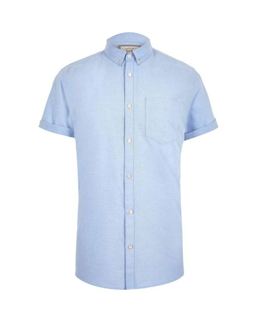 Lyst river island big and tall blue short sleeve oxford for Big and tall oxford shirts